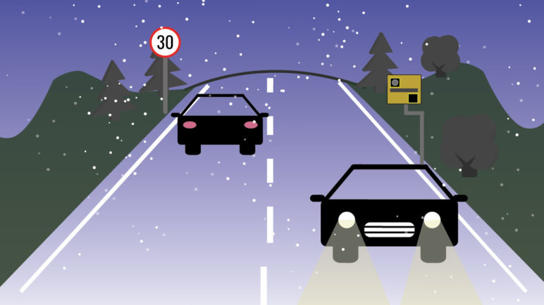 Winter driving safety thumb