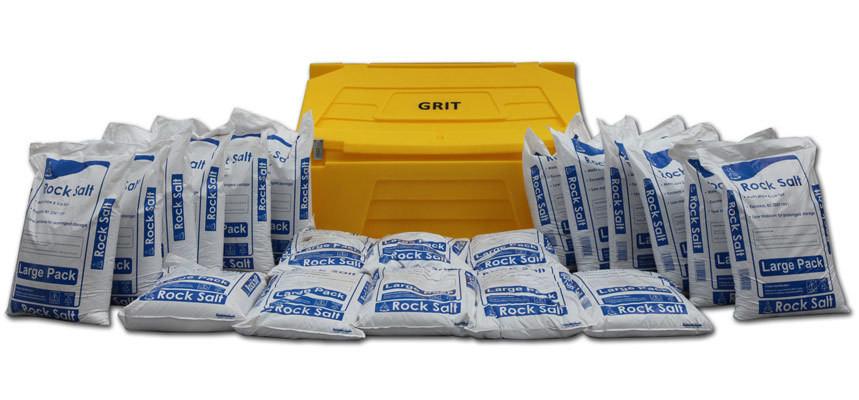 Rock Salt Large Pack And 400L Grit Bin
