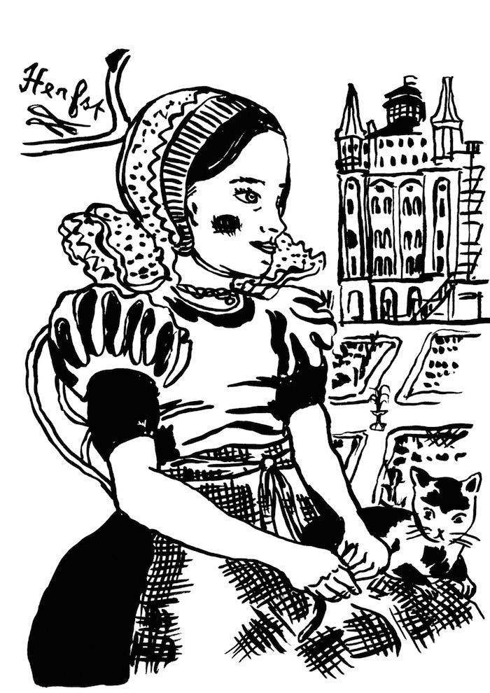 Kleurplaat van Nathalie Lété, speciaal geïllustreerd voor Villa Augustus