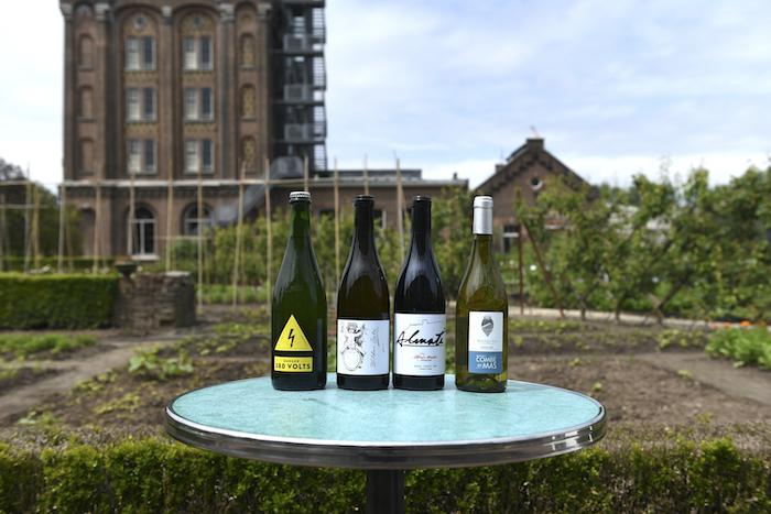 Vier wijnen van de vaste kaart en het krijtbord