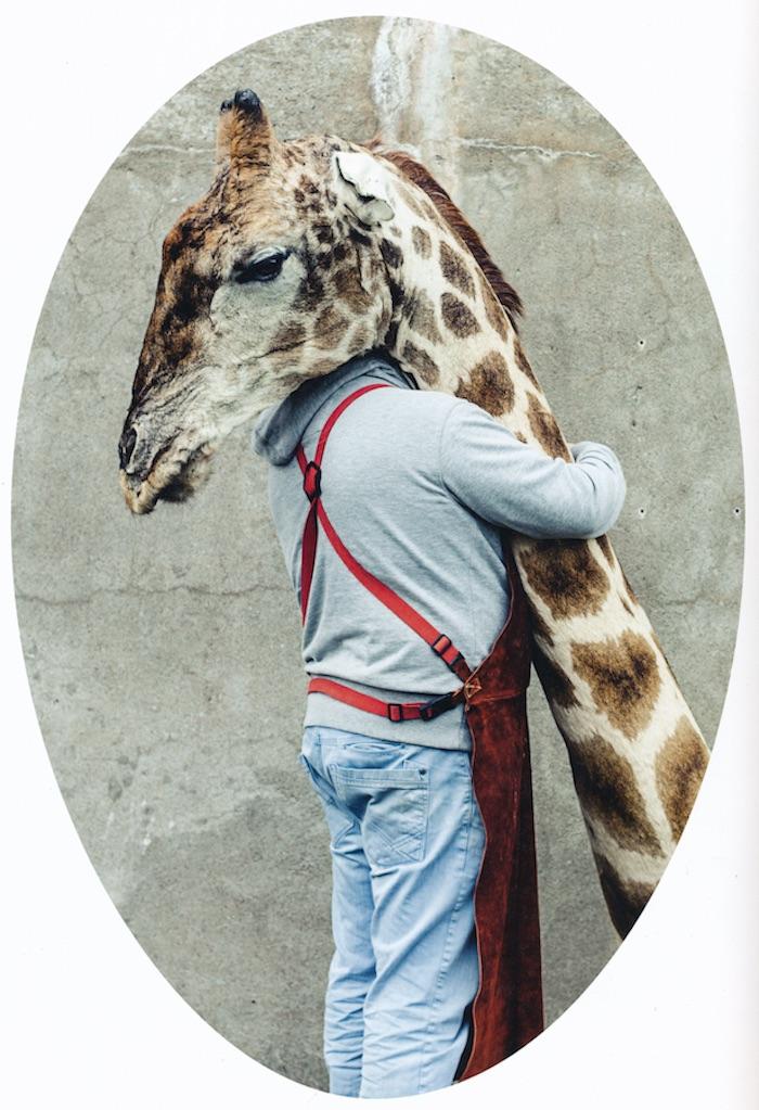 Giraffe in het atelier van Sinke en Van Tongeren