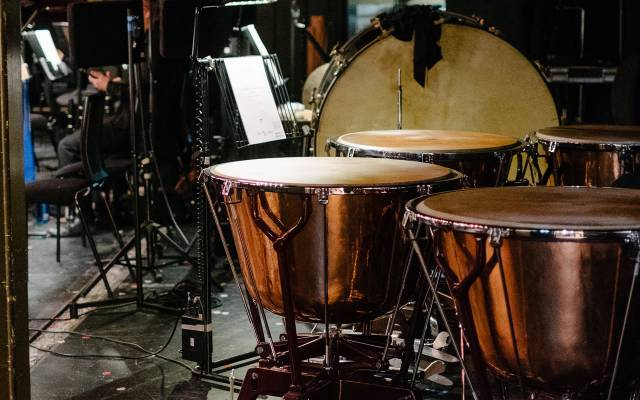 Percussion instruments in the Leeds Grand Theatre orchestra pit © Tom Arber