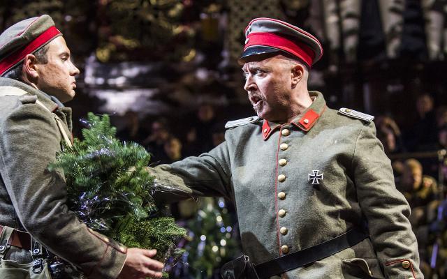 Stuart Laing as a German soldier with Richard Burkhard as Lieutenant Horstmayer © Tristram Kenton