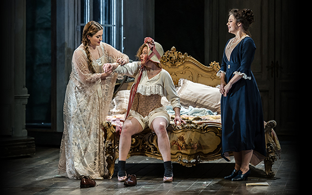 Ana Maria Labin as the Countess, Helen Sherman as Cherubino and Silvia Moi as Susanna, 2015 © Clive Barda