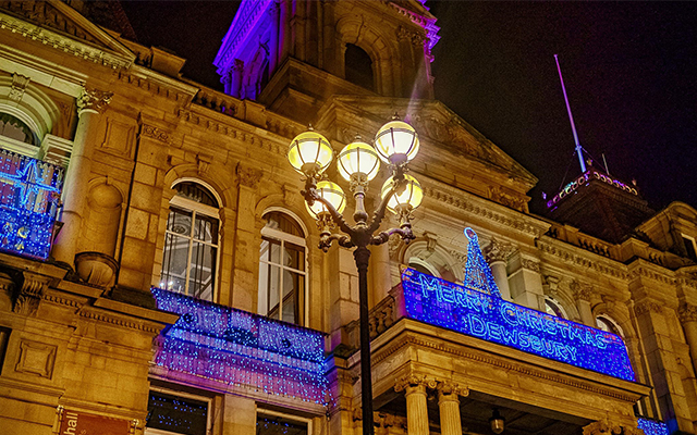 Image of Dewsbury Town Hall with Christmas Lights