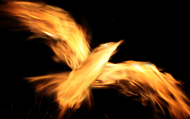 Image of a dark background with flames in the shape of a bird