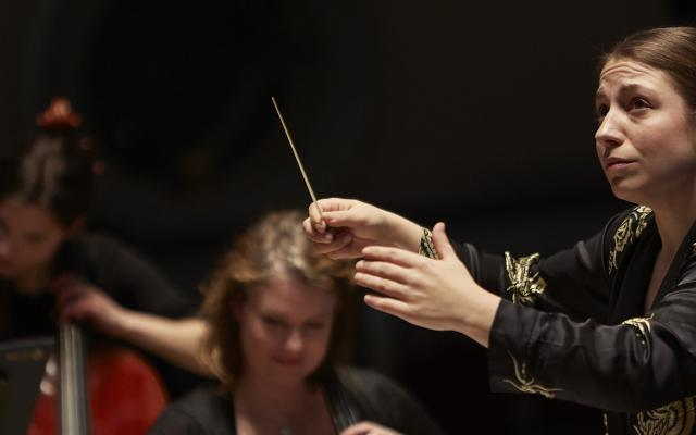 The young Finnish conductor Dalia Stasevska conducts the Orchestra of Opera North in Huddersfield Town Hall, April 2019