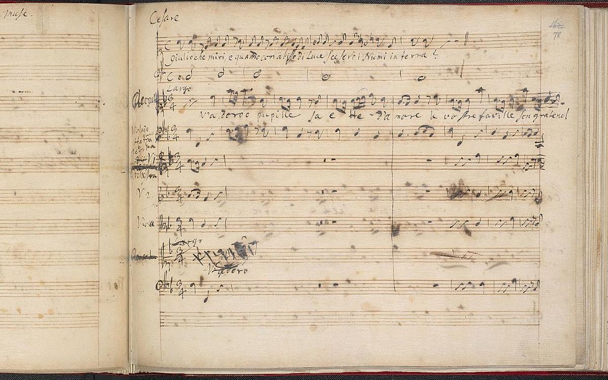 'V'adoro pupille' from the autograph manuscript of Giulio Cesare, 1723
