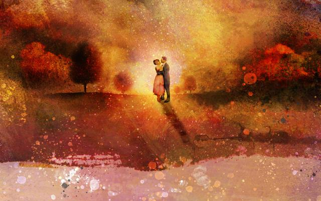 A couple in a landscape scene embrace in front of a sunset in an illustrated image