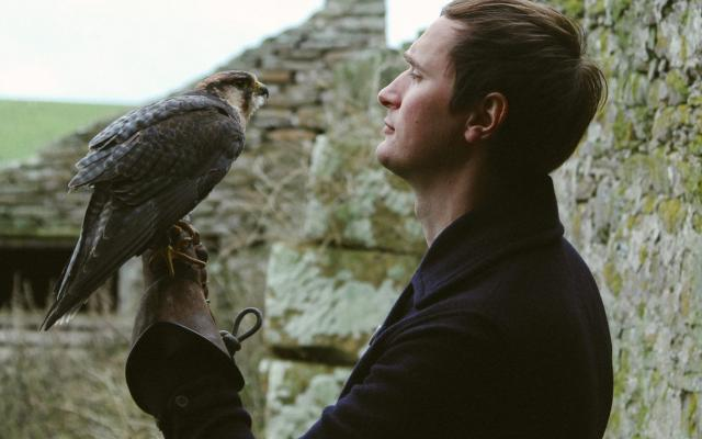 A young man (Erland Cooper) in profile in front of an old stone wall, makes eye contact with a bird of prey, which he holds on a leather gauntlet