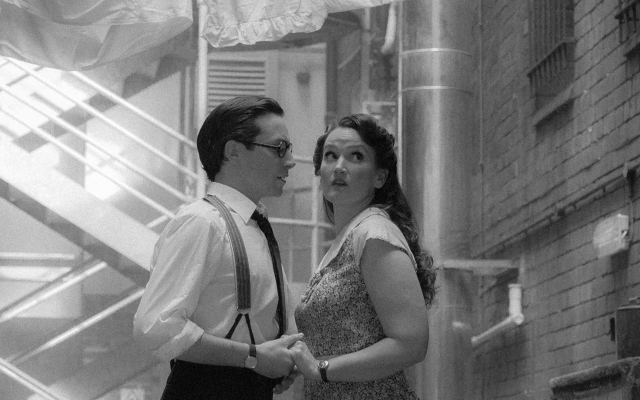Alex Banfield as Sam and Gillene Butterfield as Rose on the Street Scene promo photoshoot © Hollie Marshall