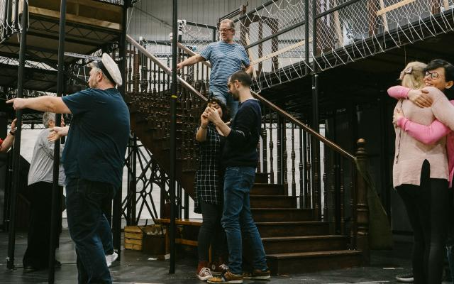 The cast of Opera North's new production of Kurt Weill's Street Scene in rehearsal
