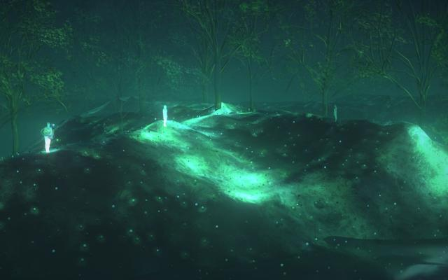 Glowing figures dotted around an eerie greenish-blue virtual landscape