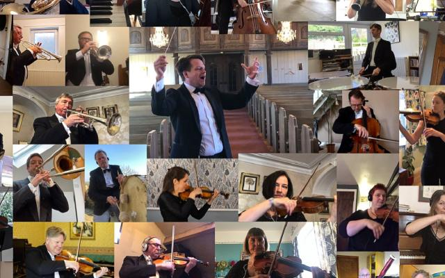 A mosaic of different shots of orchestral musicians, with a conductor at the centre
