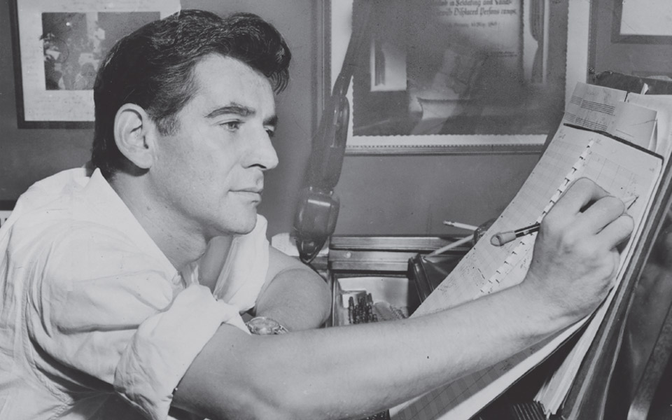 Black and white photos of a man at the piano making notes on a score.