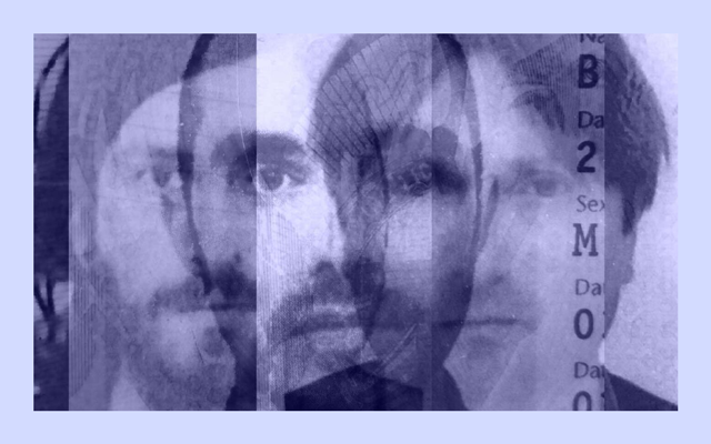 An image of three mens faces with a purple overlay