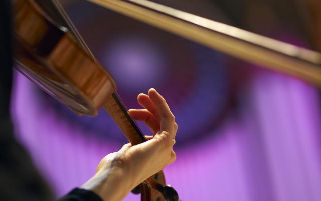 A musician's hand on the neck of a violin, the other hand holding a bow, with organ pipes lit in dramatic purple in the background