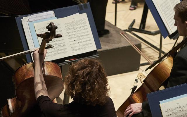 A female and a male cellist seen from behind, seated and studying a musical score