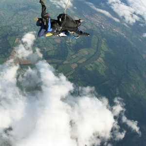 Image of our head of fundraising taking on a 15000ft skydive