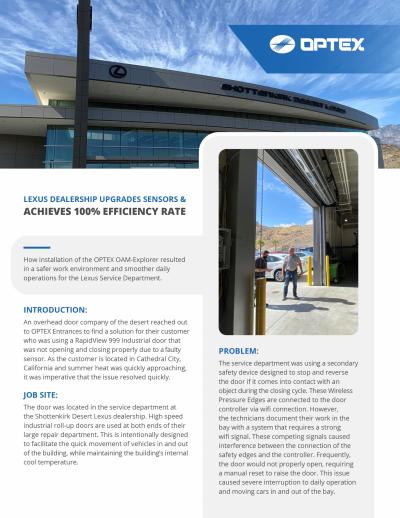 OPTEX CASE STUDY OAM EXPLORER at Lexus Dealership PAGE 1