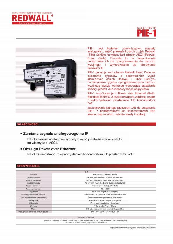 OPTEX PIE 1 katalog PL