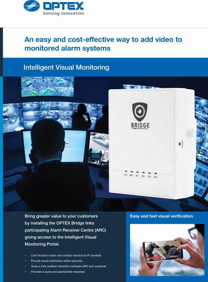 Optex intelligent visual monitoring installer brochure cover