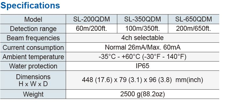 Optex Sl 200Qdm Specifications