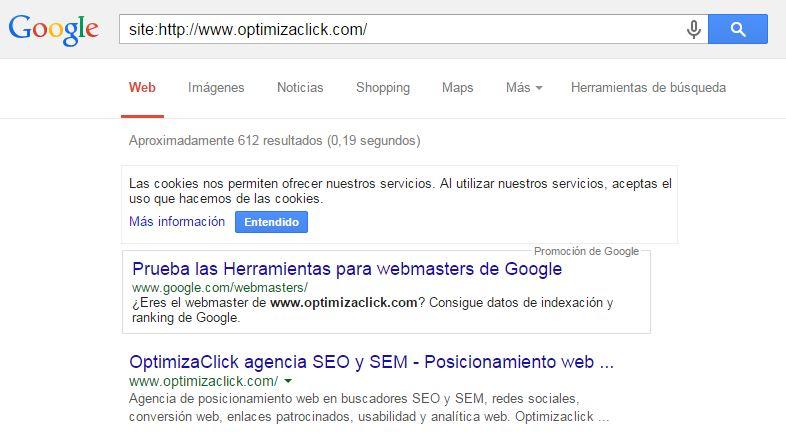 Mediante esta fórmula verás las páginas indexadas de tu web en Google.