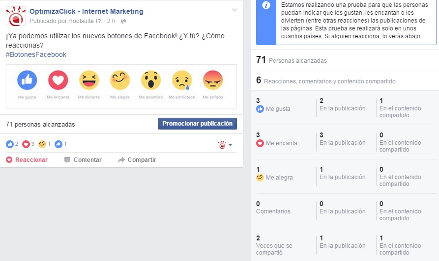 estadisticas reacciones facebook