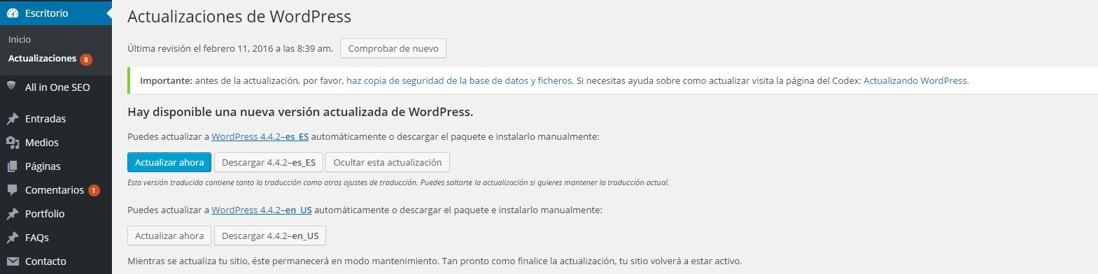 Pantallazo WordPress