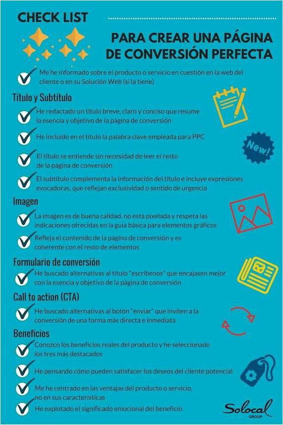 checklist pagina de conversion