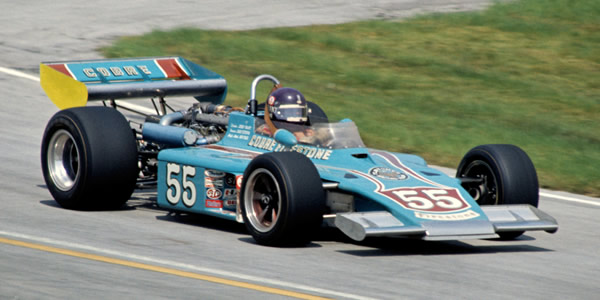 Jerry Grant in the Fletcher Racing Eagle 74 at Milwaukee in 1974.  Copyright Glenn Snyder 2009.  Used with permission.