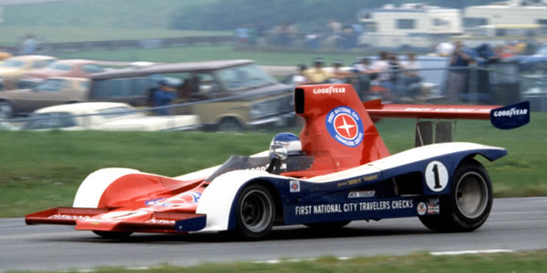 Inaugural champion Patrick Tambay in the Carl Haas Lola T333CS at Road America in 1977.  Copyright Glenn Snyder 2009.  Used with permission.