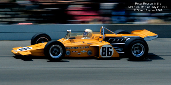 Peter Revson in the revolutionary McLaren M16 on his way to second place at Indy in 1971.  Copyright Glenn Snyder 2009.  Used with permission.