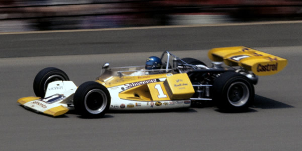 Joe Leonard in the Parnelli VPJ1 at the Indianapolis 500 in 1972.  Copyright Glenn Snyder 2009.  Used with permission.