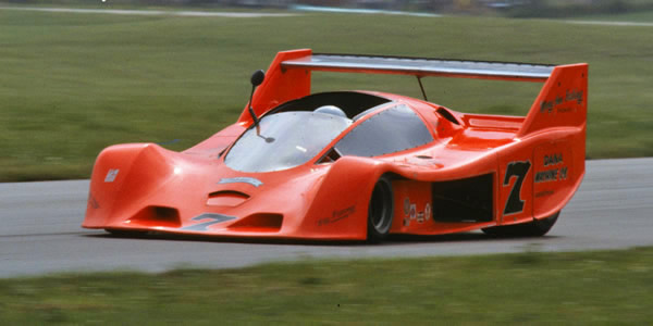 Tom Klauser in the second Schkee at Road America in 1977.  Copyright Glenn Snyder 2009.  Used with permission.