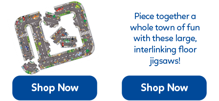 Six giant, road-themed floor jigsaw puzzles that can be linked together in any possible combination.