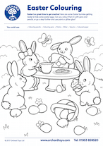 Easter Bunnies Colouring Sheet