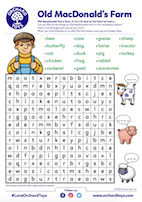 Old MAcDonald Wordsearch