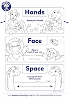 Hands, Face, Space Colouring Sheet