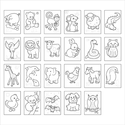 - Animals Colouring Book With Stickers