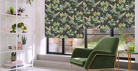 A collection of modern, glamorous patterned blinds by designer Boon & Blake