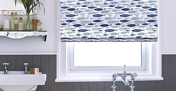 Roman blinds perfectly suited to a bathroom in a range of charming patterns and colours