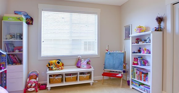 Faux wood venetian blinds available in 3 slat widths, fully made to measure