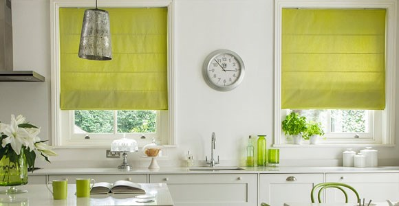 Fresh and fashionable green roman blinds in a variety of textures, handmade in our Midlands factory