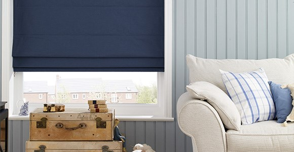 A calming collection of blue and navy roman blinds, handmade in a variety of textures and styles