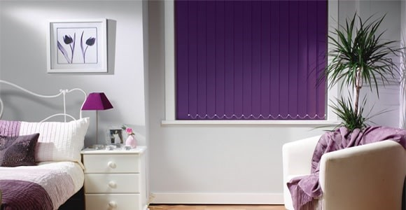 Blackout vertical blind collection inlcuding plain, textured and patterned fabrics