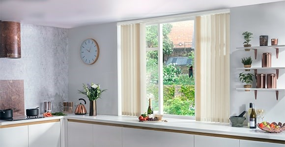 plain dyed vertical blinds in a full spectrum of colour to choose from fully made to measure