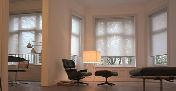 Sheer roller blinds fabrics in plain and striped designs. The collection is modern and versatile.