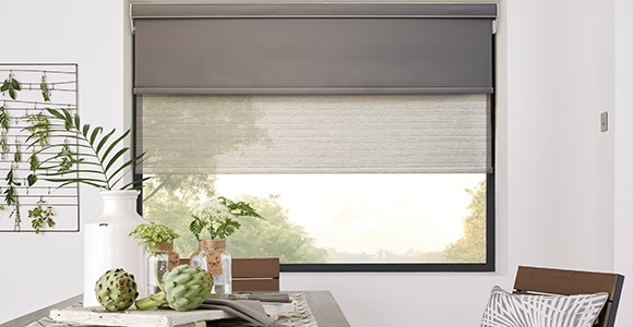 Motorised double roller blinds combining sheer and blackout blinds for ultimate light control